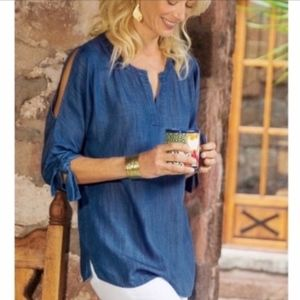SOFT SURROUNDINGS Chambray Cold Shoulder Tunic